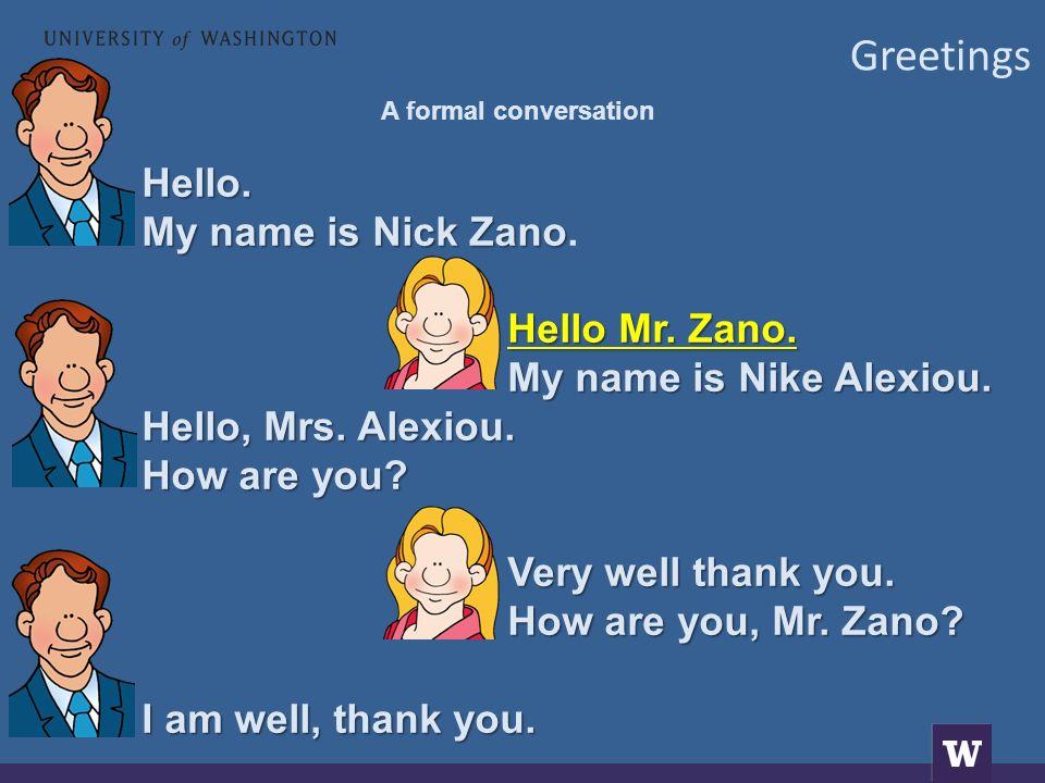 Greetings A formal conversation Γειά σας.Με λένε Νίκο Ζάνο Με λένε Νίκο Ζάνο.