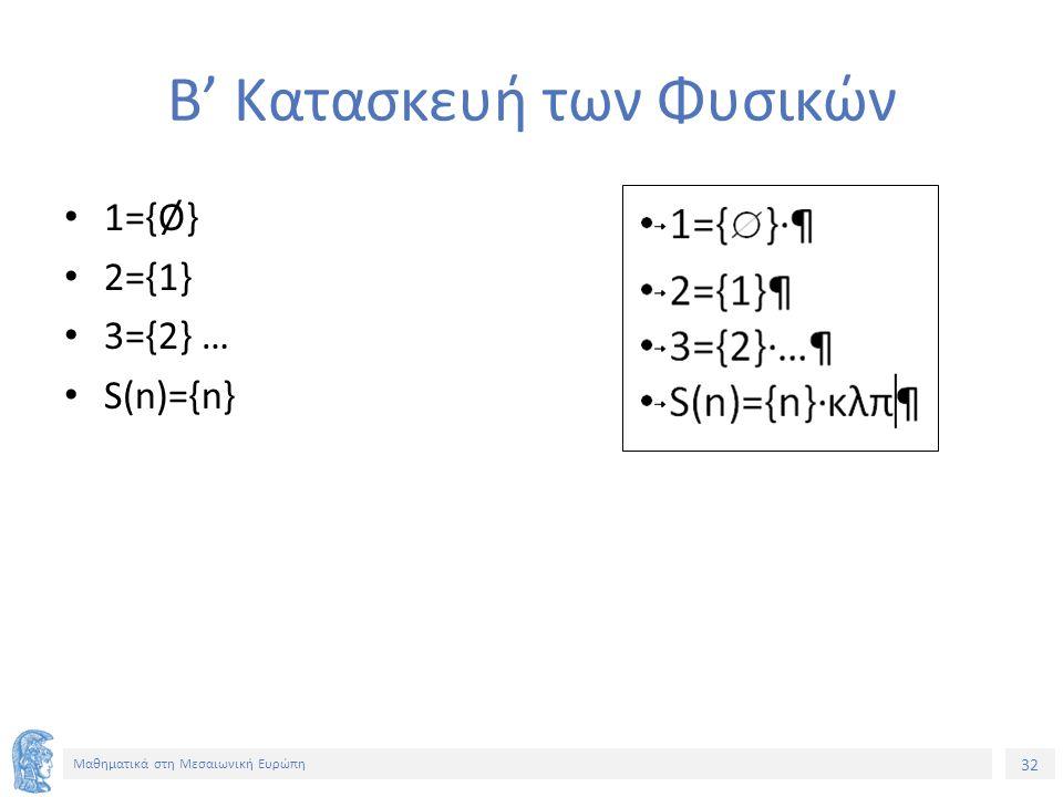 32 Μαθηματικά στη Μεσαιωνική Ευρώπη Β' Κατασκευή των Φυσικών 1={Ø} 2={1} 3={2} … S(n)={n}