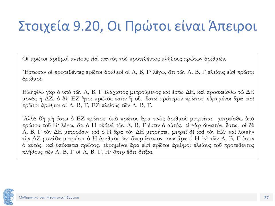 37 Μαθηματικά στη Μεσαιωνική Ευρώπη Στοιχεία 9.20, Οι Πρώτοι είναι Άπειροι