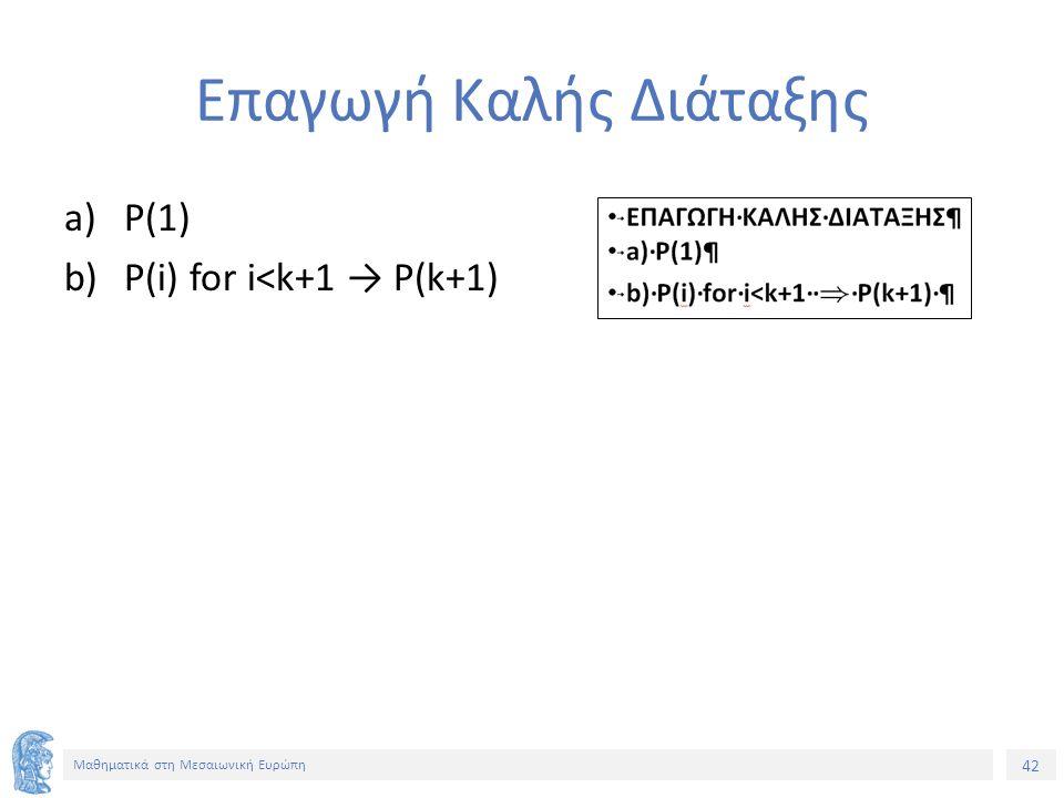 42 Μαθηματικά στη Μεσαιωνική Ευρώπη Επαγωγή Καλής Διάταξης a)P(1) b)P(i) for i<k+1 → P(k+1)