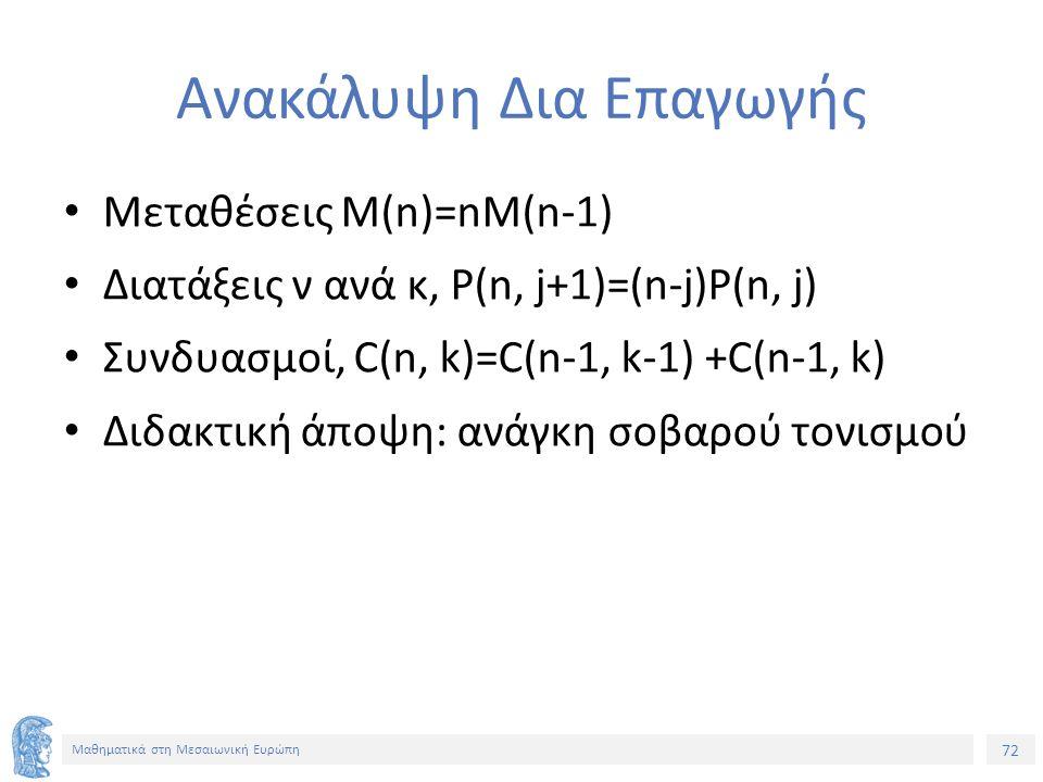 72 Μαθηματικά στη Μεσαιωνική Ευρώπη Ανακάλυψη Δια Επαγωγής Μεταθέσεις Μ(n)=nM(n-1) Διατάξεις ν ανά κ, P(n, j+1)=(n-j)P(n, j) Συνδυασμοί, C(n, k)=C(n-1, k-1) +C(n-1, k) Διδακτική άποψη: ανάγκη σοβαρού τονισμού