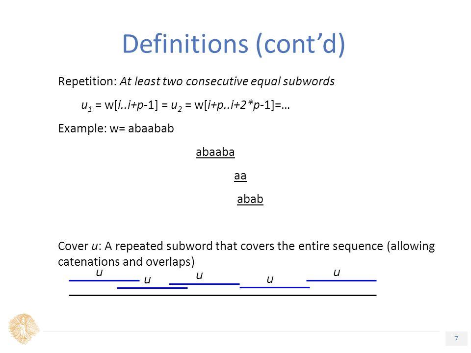 28 Τίτλος Ενότητας δ-occurrence of a set of strings with Δ- bounded gaps Problem: Assume w 1, …, w m  Σ*.