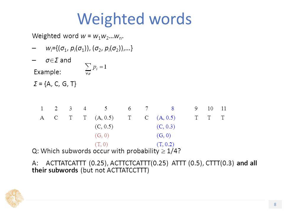 8 Τίτλος Ενότητας Weighted word w = w 1 w 2 …w n.