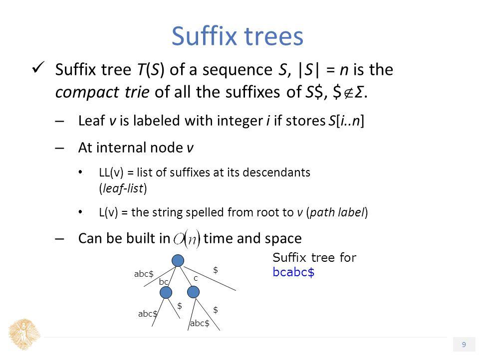 10 Τίτλος Ενότητας Generalised Suffix Tree (GST) – Multistring Suffix Tree for S1, S2,…, Sm – Leaves can store labels for several strings – Can be built in time and space (S 1,5) (S 2,6) a x (S 2,3)(S 1,3) (S 2,5) (S 1,2)(S 2,2) (S 2,4) (S 1,1)(S 1,4) b x a$ ba$ $ a bxba$ bx $ a$ ba$ $ a bxa$ The GST for S 1 =xabxa$ S 2 =babxba$ Suffix trees (cont'd)