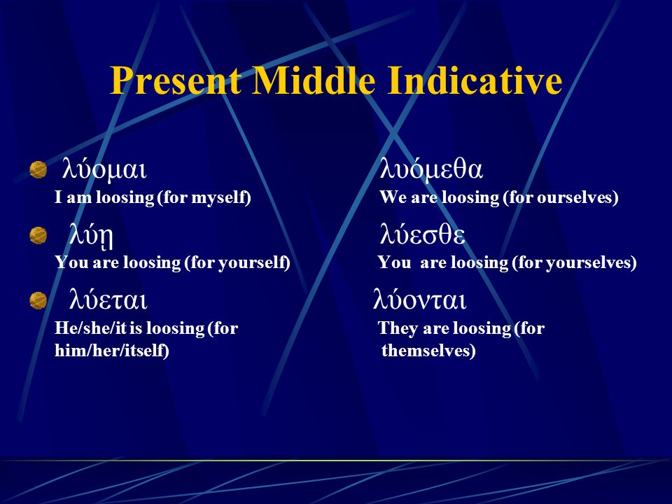 Present Middle Indicative λύομαι λυόμεθα I am loosing (for myself) We are loosing (for ourselves) λύ ῃ λύεσθε You are loosing (for yourself) You are loosing (for yourselves) λύεται λύονται He/she/it is loosing (for They are loosing (for him/her/itself) themselves)