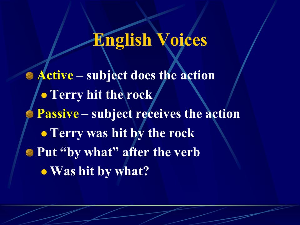 English Voices Active – subject does the action Terry hit the rock Passive – subject receives the action Terry was hit by the rock Put by what after the verb Was hit by what?