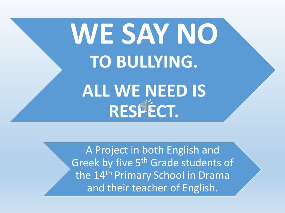 WE SAY NO TO BULLYING.ALL WE NEED IS RESPECT.