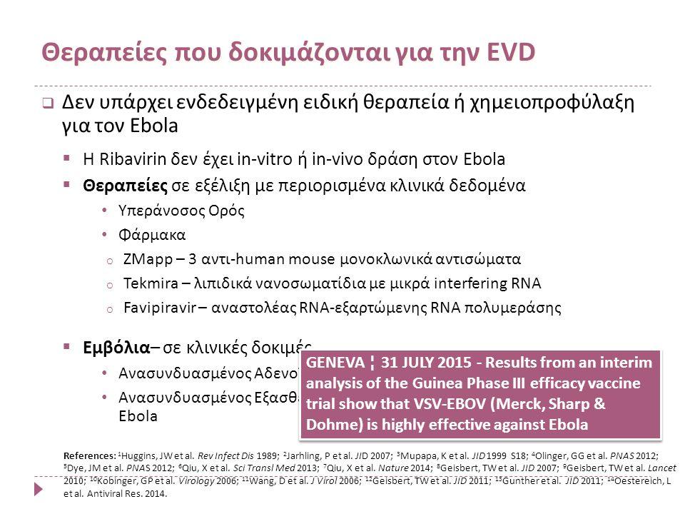  Δεν υπάρχει ενδεδειγμένη ειδική θεραπεία ή χημειοπροφύλαξη για τον Ebola  Η Ribavirin δεν έχει in-vitro ή in-vivo δράση στον Ebola  Θεραπείες σε εξέλιξη με περιορισμένα κλινικά δεδομένα Υπεράνοσος Ορός Φάρμακα o ZMapp – 3 αντι-human mouse μονοκλωνικά αντισώματα o Tekmira – λιπιδικά νανοσωματίδια με μικρά interfering RNA o Favipiravir – αναστολέας RNA-εξαρτώμενης RNA πολυμεράσης  Εμβόλια– σε κλινικές δοκιμές Ανασυνδυασμένος Αδενοϊός χιμπατζήδων με γονίδια Ebola Ανασυνδυασμένος Εξασθενημένος Vesicular Stomatitis Virus με γονίδια Ebola Θεραπείες που δοκιμάζονται για την EVD References: 1 Huggins, JW et al.