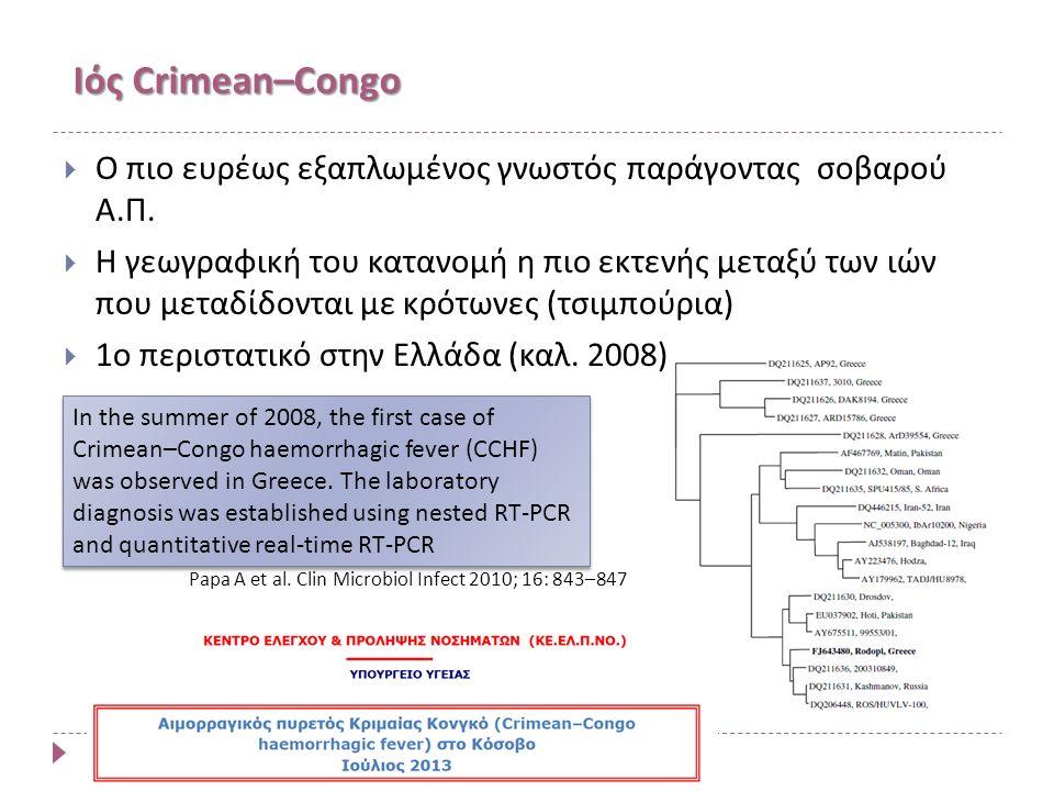 Ιός Crimean–Congo  Ο πιο ευρέως εξαπλωμένος γνωστός παράγοντας σοβαρού Α.Π.
