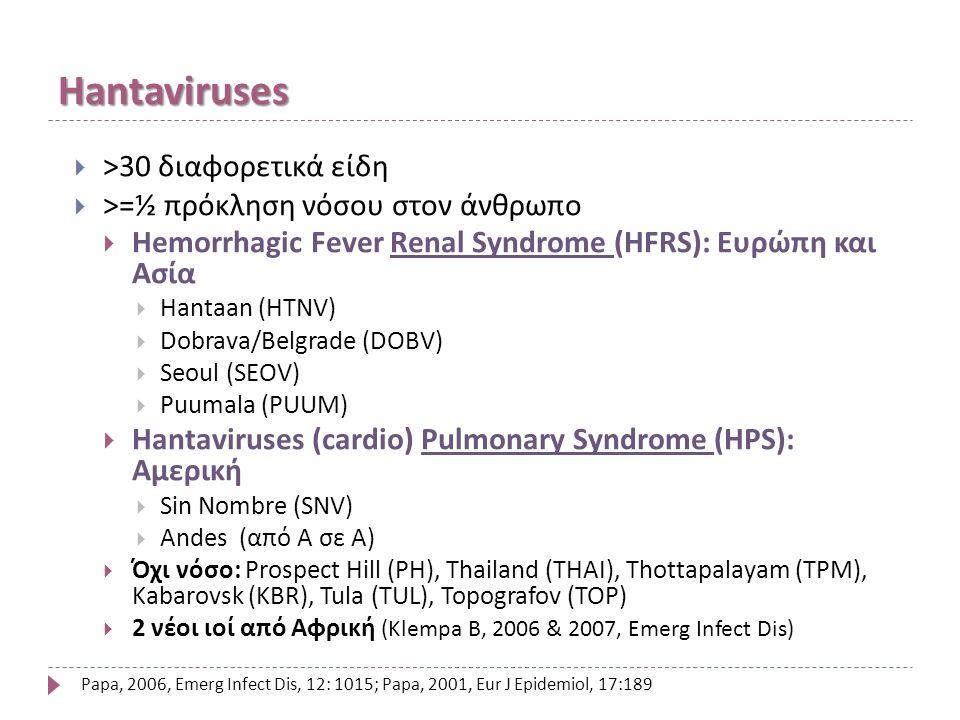 Hantaviruses  >30 διαφορετικά είδη  >=½ πρόκληση νόσου στον άνθρωπο  Hemorrhagic Fever Renal Syndrome (HFRS): Ευρώπη και Ασία  Hantaan (HTNV)  Dobrava/Belgrade (DOBV)  Seoul (SEOV)  Puumala (PUUM)  Hantaviruses (cardio) Pulmonary Syndrome (HPS): Αμερική  Sin Nombre (SNV)  Andes (από Α σε Α)  Όχι νόσο: Prospect Hill (PH), Thailand (THAI), Thottapalayam (TPM), Kabarovsk (KBR), Tula (TUL), Topografov (TOP)  2 νέοι ιοί από Αφρική (Klempa B, 2006 & 2007, Emerg Infect Dis) Papa, 2006, Emerg Infect Dis, 12: 1015; Papa, 2001, Eur J Epidemiol, 17:189