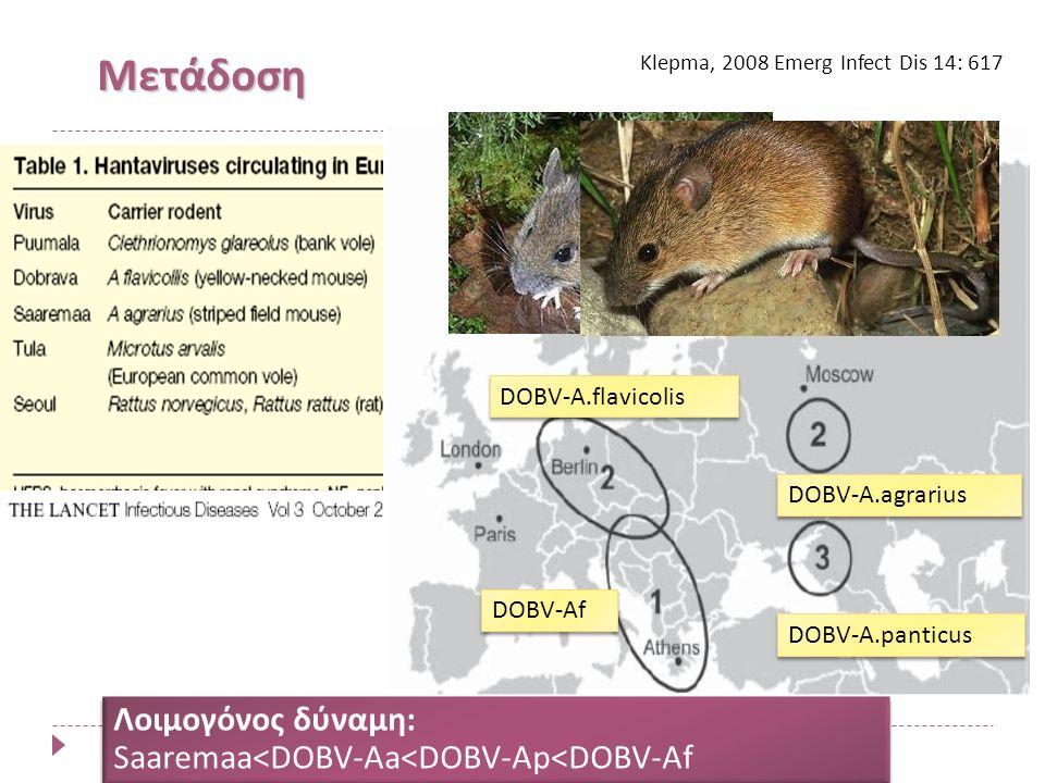 Μετάδοση Klepma, 2008 Emerg Infect Dis 14: 617 DOBV-A.flavicolis DOBV-A.panticus DOBV-A.agrarius DOBV-Af Λοιμογόνος δύναμη: Saaremaa<DOBV-Aa<DOBV-Ap<DOBV-Af Λοιμογόνος δύναμη: Saaremaa<DOBV-Aa<DOBV-Ap<DOBV-Af