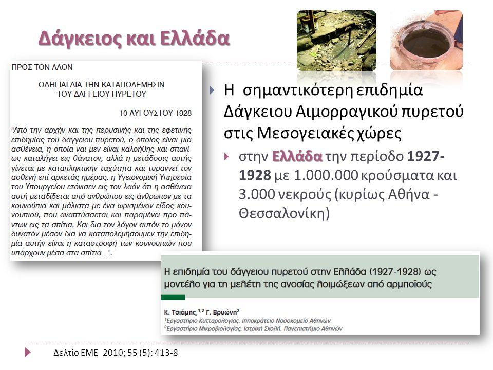 Δάγκειος και Ελλάδα  Η σημαντικότερη επιδημία Δάγκειου Αιμορραγικού πυρετού στις Μεσογειακές χώρες Ελλάδα  στην Ελλάδα την περίοδο 1927- 1928 με 1.000.000 κρούσματα και 3.000 νεκρούς (κυρίως Αθήνα - Θεσσαλονίκη) Δελτίο ΕΜΕ 2010; 55 (5): 413-8