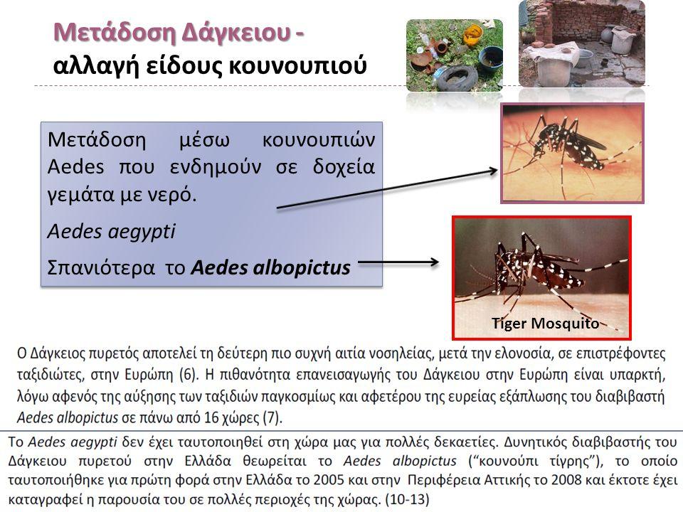Μετάδοση Δάγκειου - Μετάδοση Δάγκειου - αλλαγή είδους κουνουπιού Μετάδοση μέσω κουνουπιών Aedes που ενδημούν σε δοχεία γεμάτα με νερό.