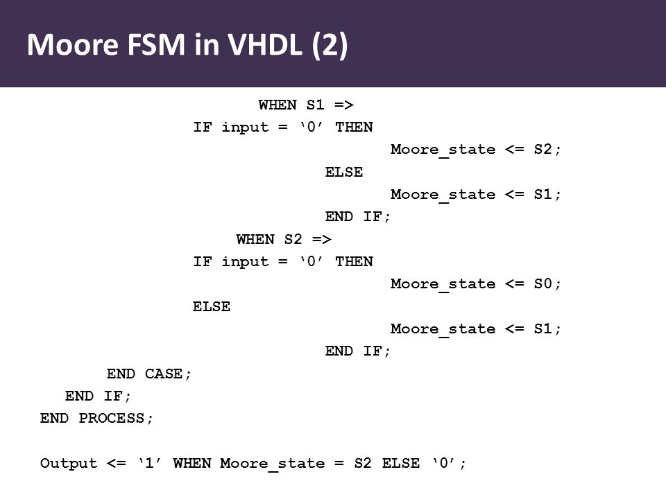 Moore FSM in VHDL (2) WHEN S1 => IF input = '0' THEN Moore_state <= S2; ELSE Moore_state <= S1; END IF; WHEN S2 => IF input = '0' THEN Moore_state <= S0; ELSE Moore_state <= S1; END IF; END CASE; END IF; END PROCESS; Output <= '1' WHEN Moore_state = S2 ELSE '0';