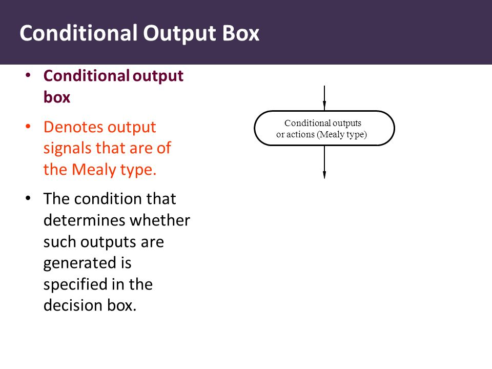 Conditional Output Box Conditional output box Denotes output signals that are of the Mealy type. The condition that determines whether such outputs ar