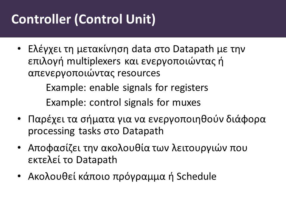 Controller (Control Unit) Ελέγχει τη μετακίνηση data στο Datapath με την επιλογή multiplexers και ενεργοποιώντας ή απενεργοποιώντας resources Example: enable signals for registers Example: control signals for muxes Παρέχει τα σήματα για να ενεργοποιηθούν διάφορα processing tasks στο Datapath Αποφασίζει την ακολουθία των λειτουργιών που εκτελεί το Datapath Ακολουθεί κάποιο πρόγραμμα ή Schedule