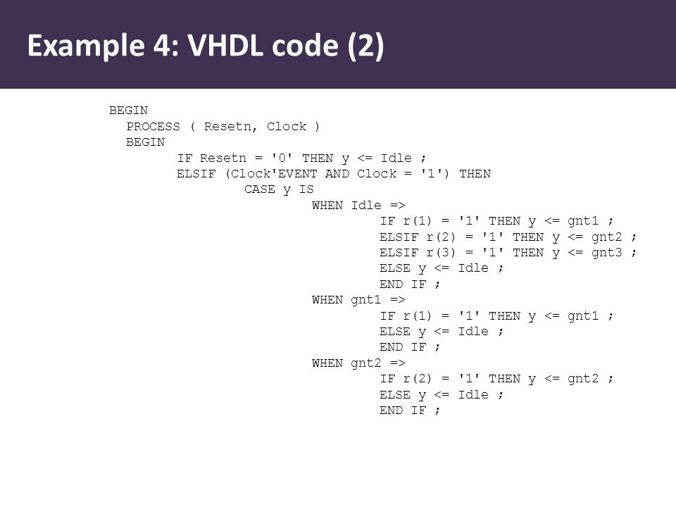 Example 4: VHDL code (2) BEGIN PROCESS ( Resetn, Clock ) BEGIN IF Resetn = 0 THEN y <= Idle ; ELSIF (Clock EVENT AND Clock = 1 ) THEN CASE y IS WHEN Idle => IF r(1) = 1 THEN y <= gnt1 ; ELSIF r(2) = 1 THEN y <= gnt2 ; ELSIF r(3) = 1 THEN y <= gnt3 ; ELSE y <= Idle ; END IF ; WHEN gnt1 => IF r(1) = 1 THEN y <= gnt1 ; ELSE y <= Idle ; END IF ; WHEN gnt2 => IF r(2) = 1 THEN y <= gnt2 ; ELSE y <= Idle ; END IF ;