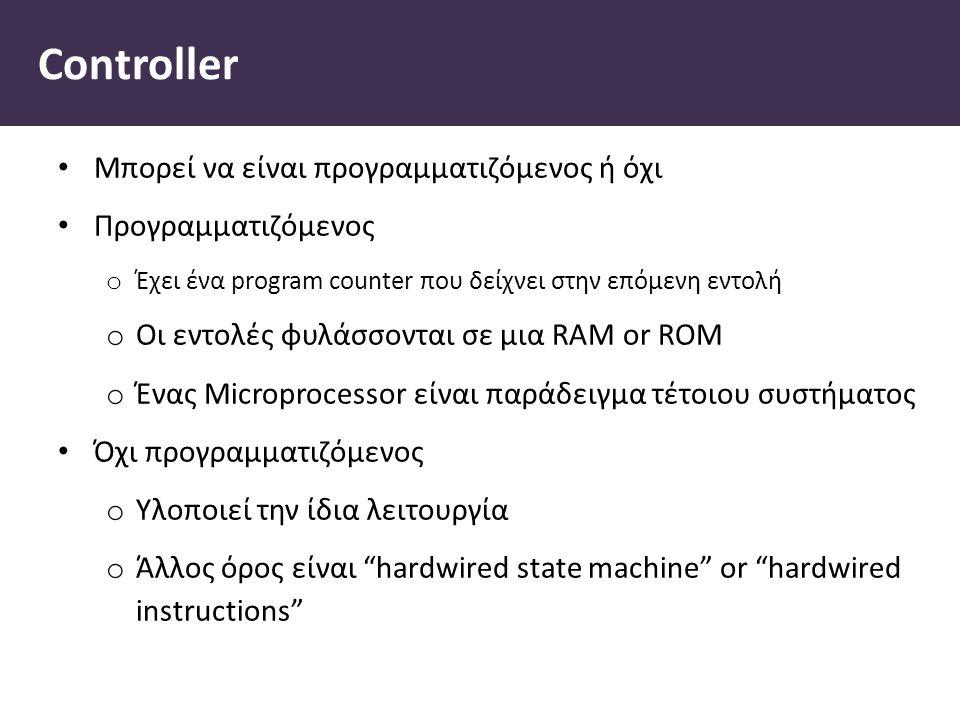 Controller Μπορεί να είναι προγραμματιζόμενος ή όχι Προγραμματιζόμενος o Έχει ένα program counter που δείχνει στην επόμενη εντολή o Οι εντολές φυλάσσονται σε μια RAM or ROM o Ένας Microprocessor είναι παράδειγμα τέτοιου συστήματος Όχι προγραμματιζόμενος o Υλοποιεί την ίδια λειτουργία o Άλλος όρος είναι hardwired state machine or hardwired instructions