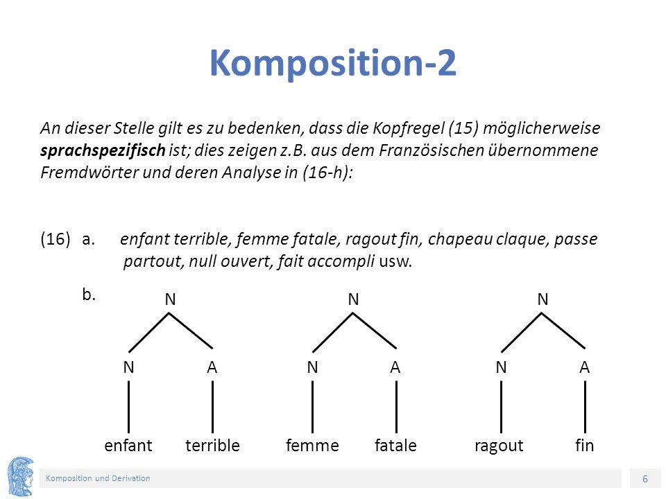6 Komposition und Derivation Komposition-2 An dieser Stelle gilt es zu bedenken, dass die Kopfregel (15) möglicherweise sprachspezifisch ist; dies zeigen z.B.