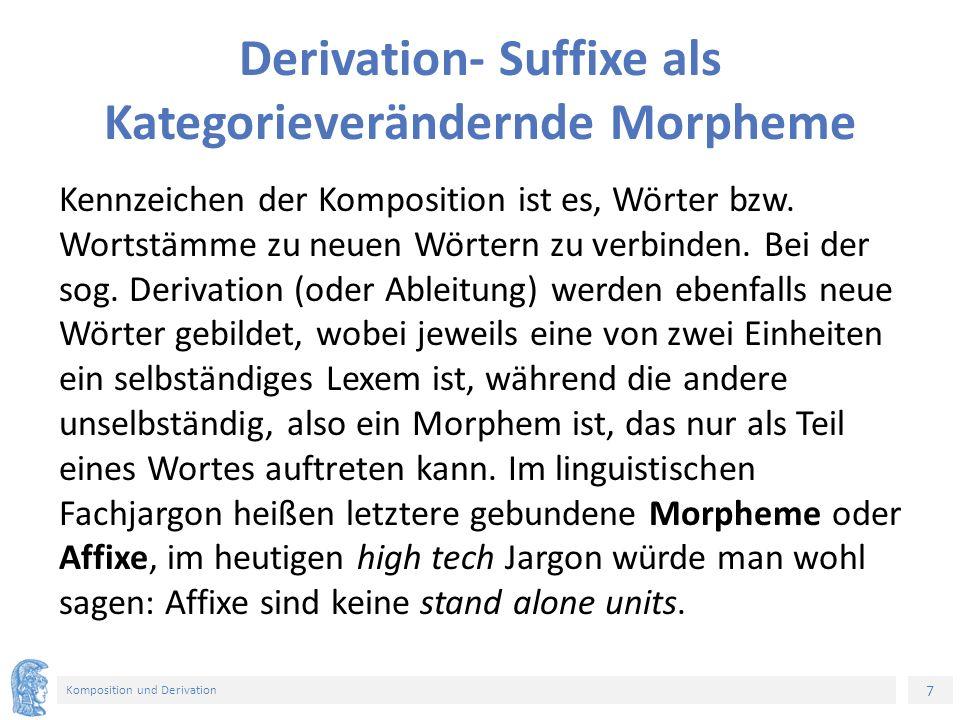 7 Komposition und Derivation Derivation- Suffixe als Kategorieverändernde Morpheme Kennzeichen der Komposition ist es, Wörter bzw. Wortstämme zu neuen
