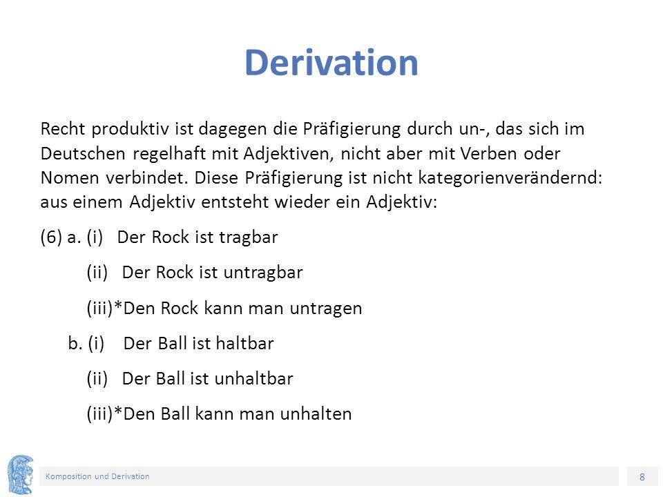 8 Komposition und Derivation Derivation Recht produktiv ist dagegen die Präfigierung durch un-, das sich im Deutschen regelhaft mit Adjektiven, nicht aber mit Verben oder Nomen verbindet.