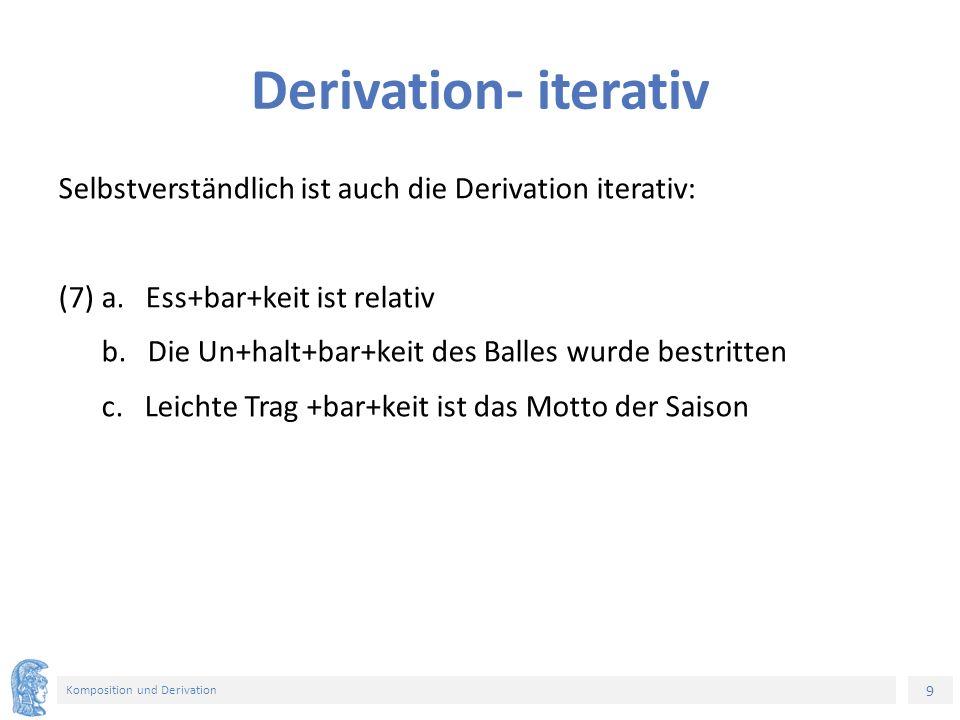 9 Komposition und Derivation Derivation- iterativ Selbstverständlich ist auch die Derivation iterativ: (7) a. Ess+bar+keit ist relativ b. Die Un+halt+