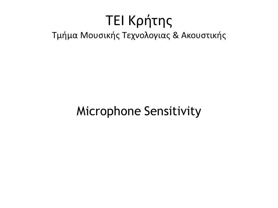 TΕΙ Κρήτης Τμήμα Μουσικής Τεχνολογιας & Ακουστικής Microphone Sensitivity