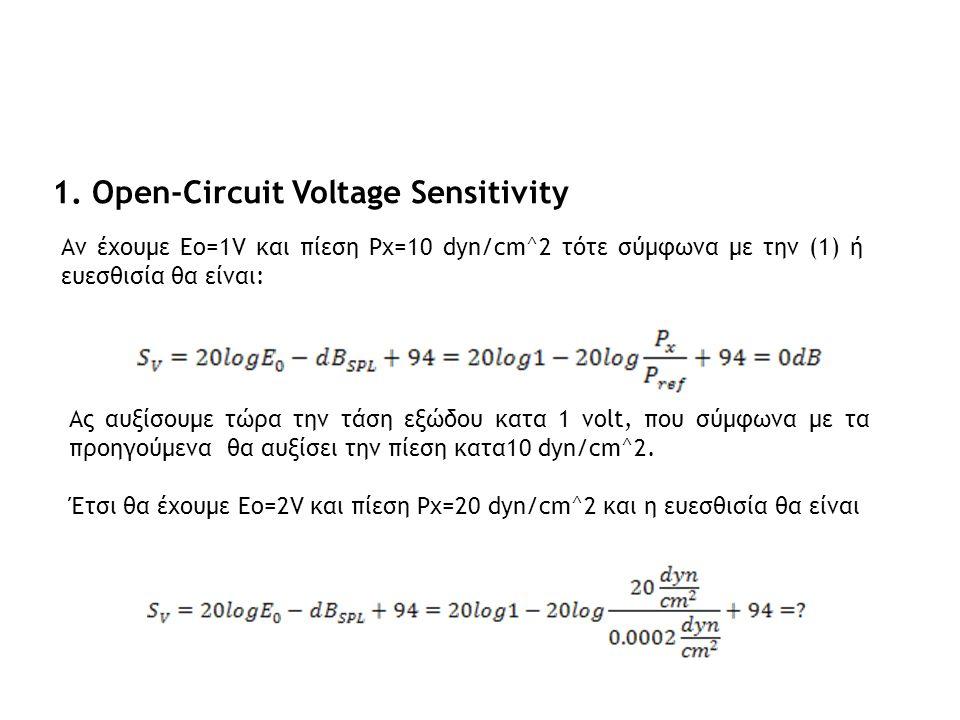1. Open-Circuit Voltage Sensitivity Ας αυξίσουμε τώρα την τάση εξώδου κατα 1 volt, που σύμφωνα με τα προηγούμενα θα αυξίσει την πίεση κατα10 dyn/cm^2.