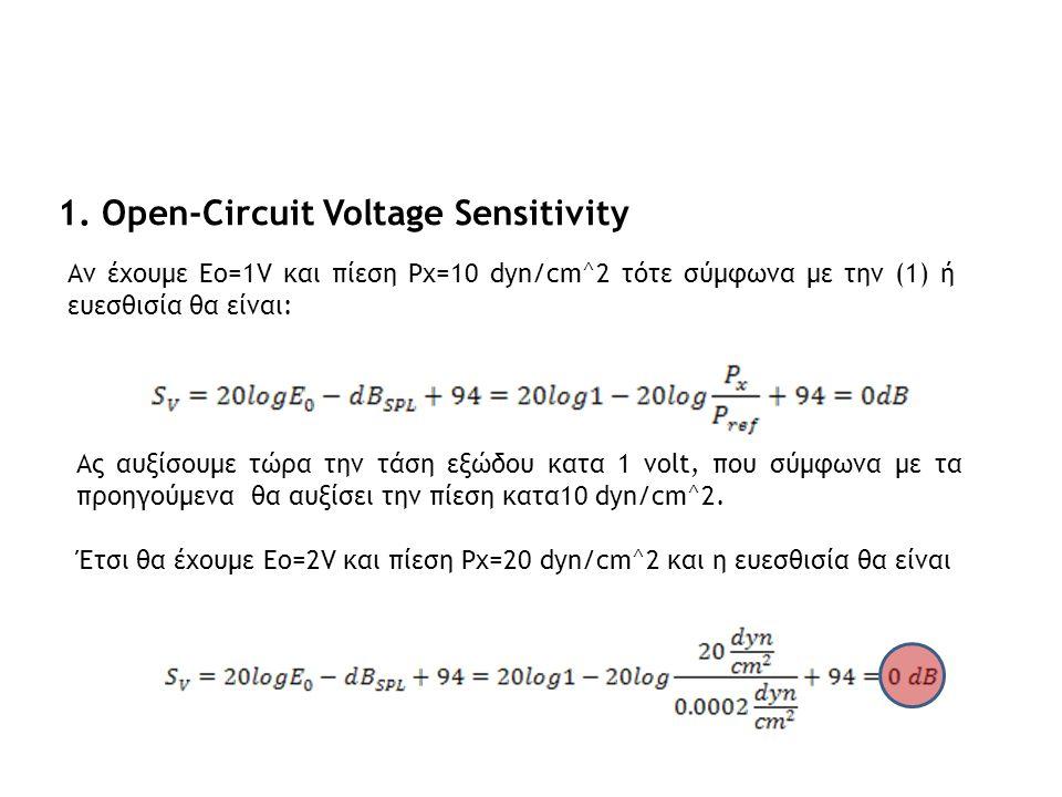 1. Open-Circuit Voltage Sensitivity Αν έχουμε Eo=1V και πίεση Px=10 dyn/cm^2 τότε σύμφωνα με την (1) ή ευεσθισία θα είναι: Ας αυξίσουμε τώρα την τάση