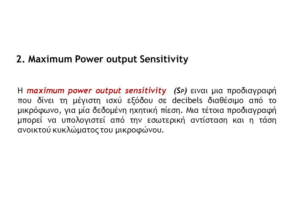 2. Maximum Power output Sensitivity Η maximum power output sensitivity (S P ) ειναι μια προδιαγραφή που δίνει τη μέγιστη ισχύ εξόδου σε decibels διαθέ