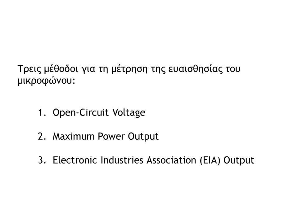 Τρεις μέθοδοι για τη μέτρηση της ευαισθησίας του μικροφώνου: 1.Open-Circuit Voltage 2.Maximum Power Output 3.Electronic Industries Association (EIA) O