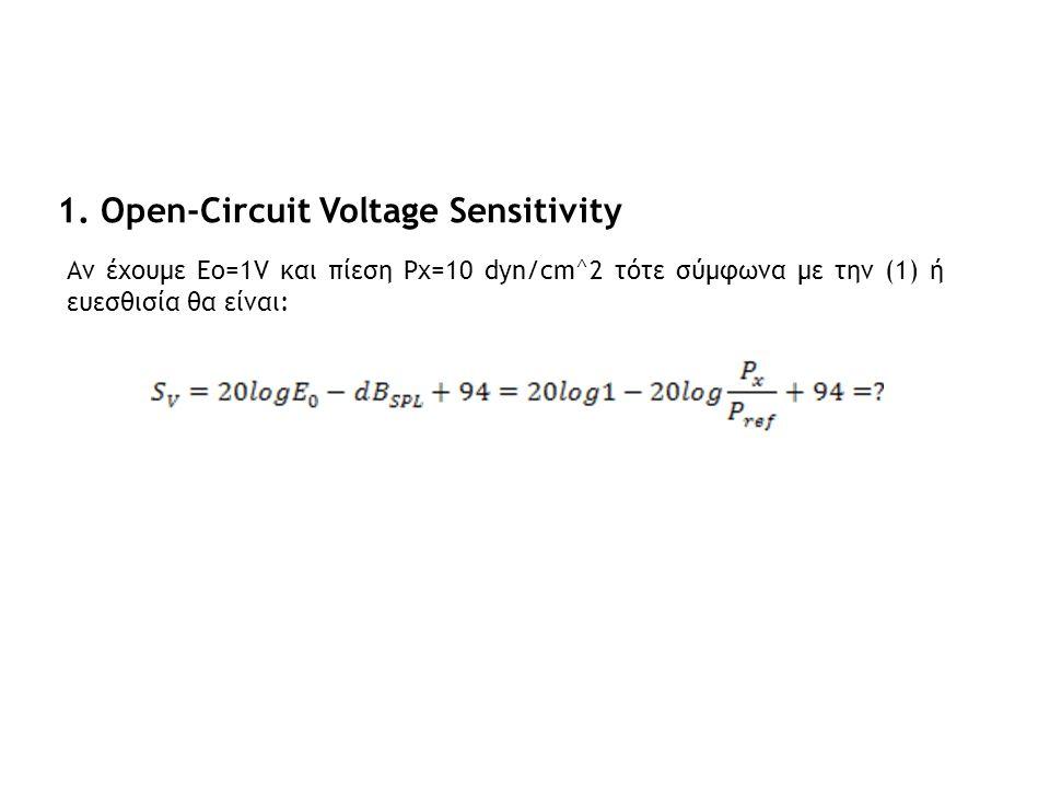 1. Open-Circuit Voltage Sensitivity Αν έχουμε Eo=1V και πίεση Px=10 dyn/cm^2 τότε σύμφωνα με την (1) ή ευεσθισία θα είναι: