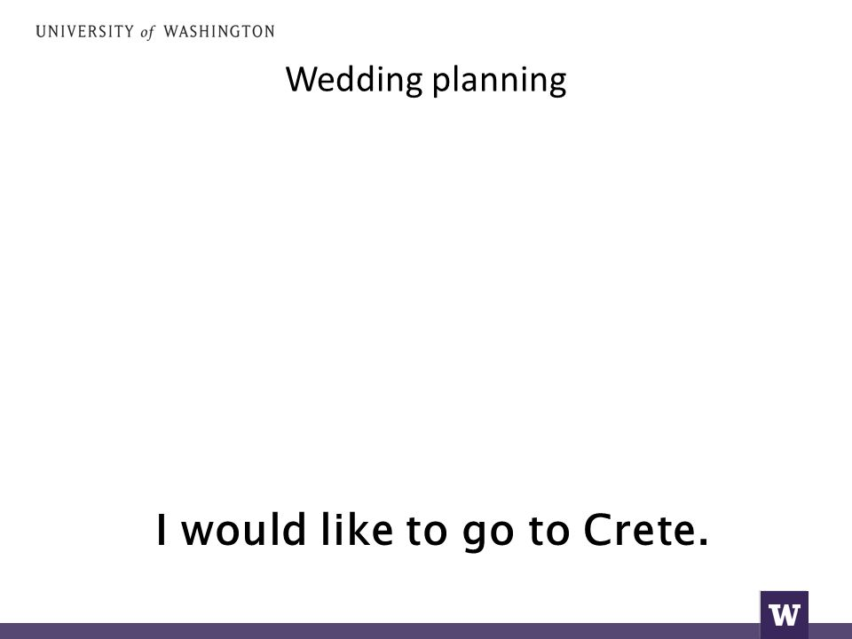 Wedding planning I would like to go to Crete.