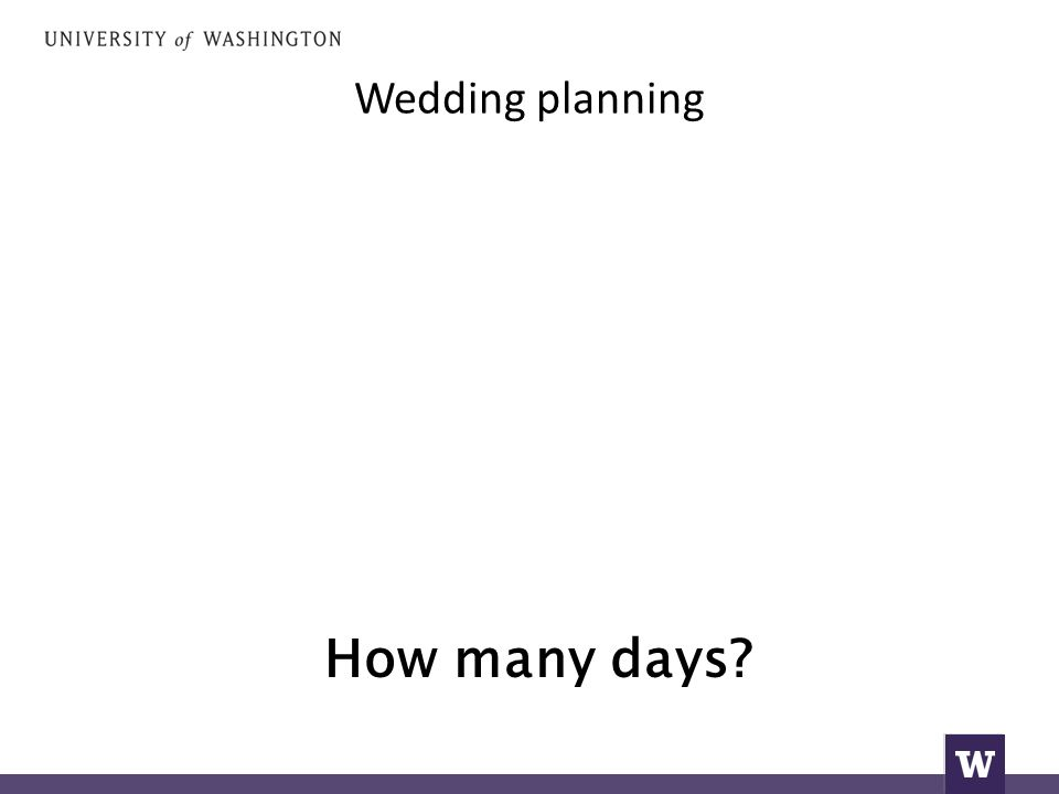 Wedding planning How many days