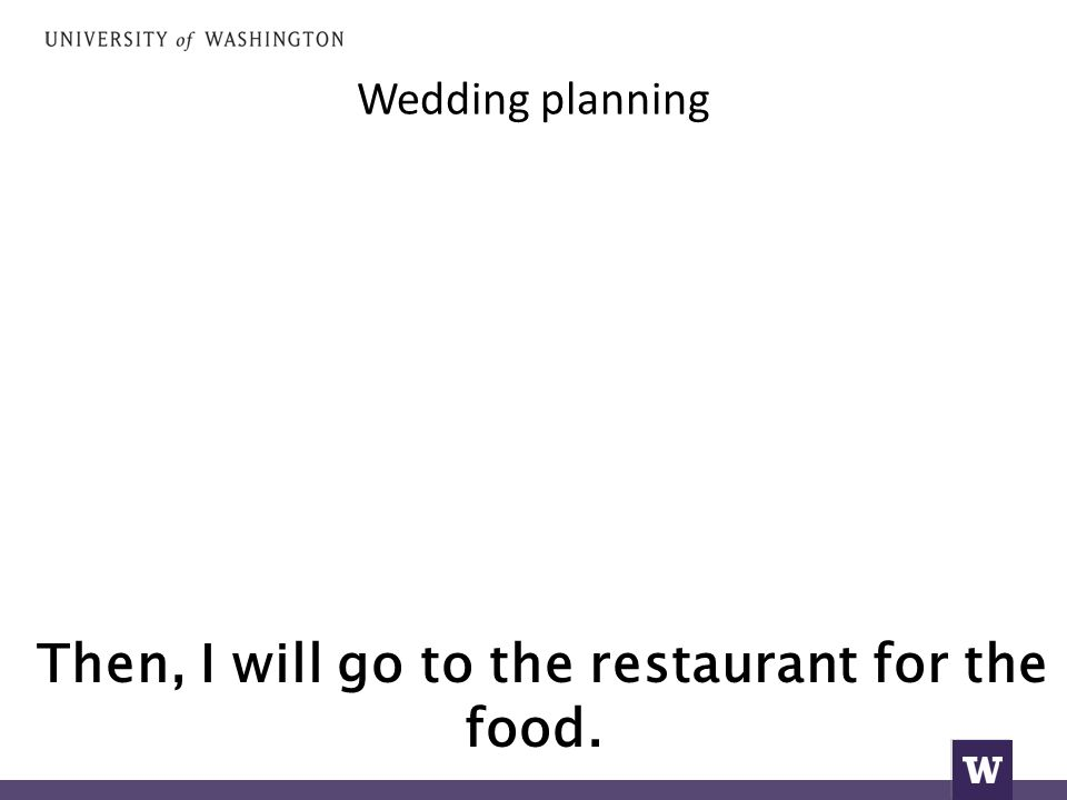 Wedding planning Then, I will go to the restaurant for the food.