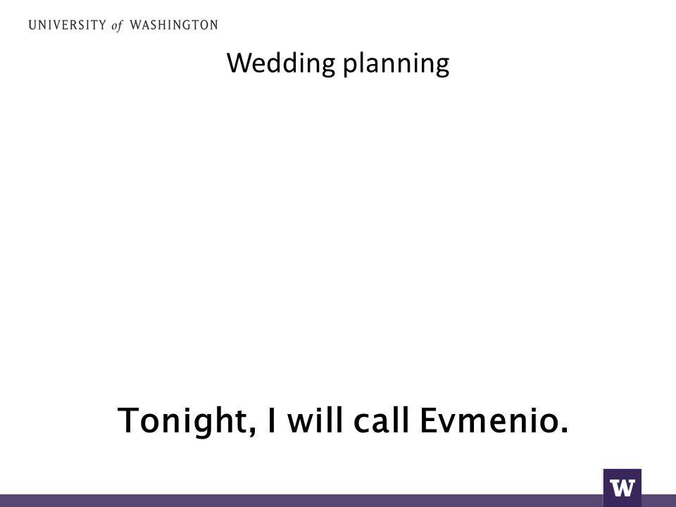 Wedding planning Tonight, I will call Evmenio.