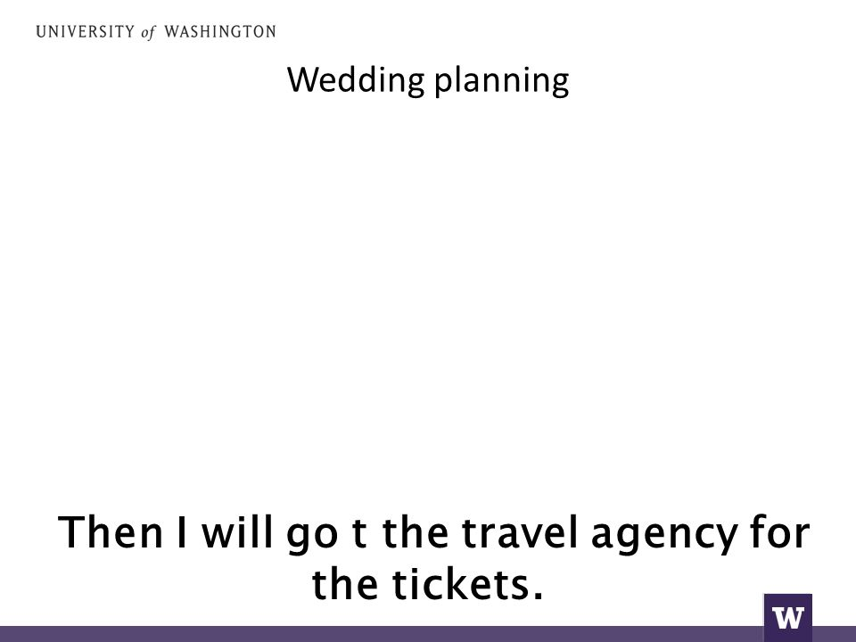 Wedding planning Then I will go t the travel agency for the tickets.