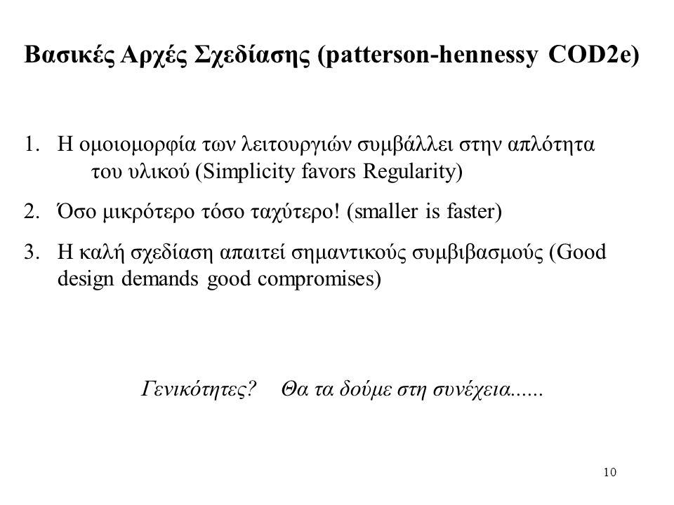 10 Βασικές Αρχές Σχεδίασης (patterson-hennessy COD2e) 1.Η ομοιομορφία των λειτουργιών συμβάλλει στην απλότητα του υλικού (Simplicity favors Regularity) 2.Όσο μικρότερο τόσο ταχύτερο.