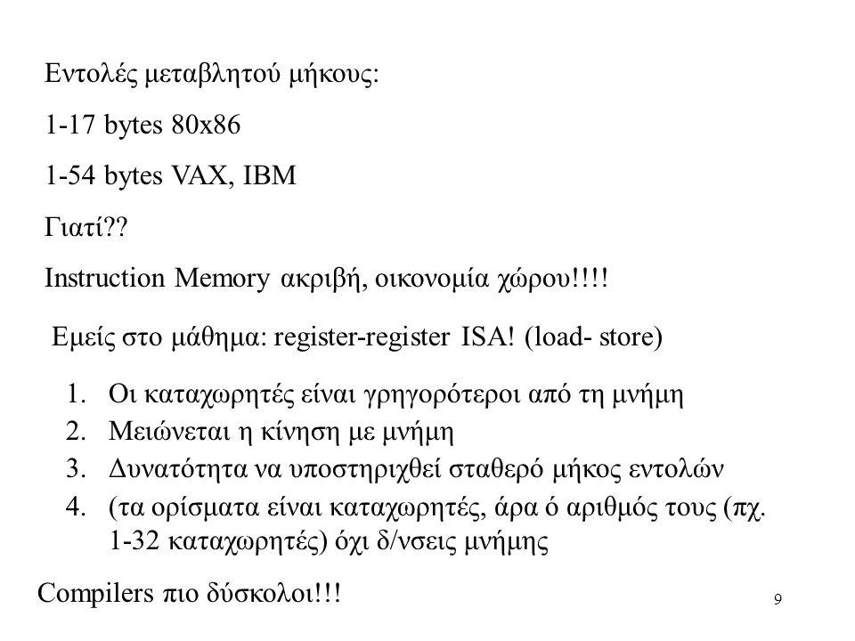 9 Εντολές μεταβλητού μήκους: 1-17 bytes 80x86 1-54 bytes VAX, IBM Γιατί .