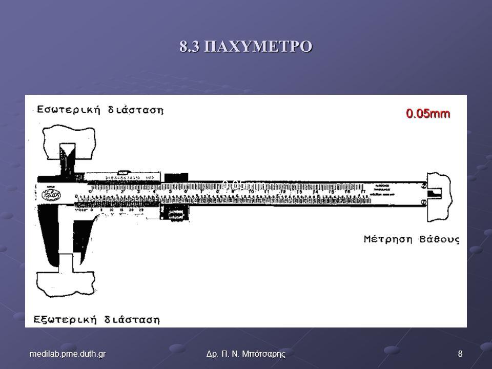 8medilab.pme.duth.grΔρ. Π. Ν. Μπότσαρης 8.3 ΠΑΧΥΜΕΤΡΟ 0.05mm