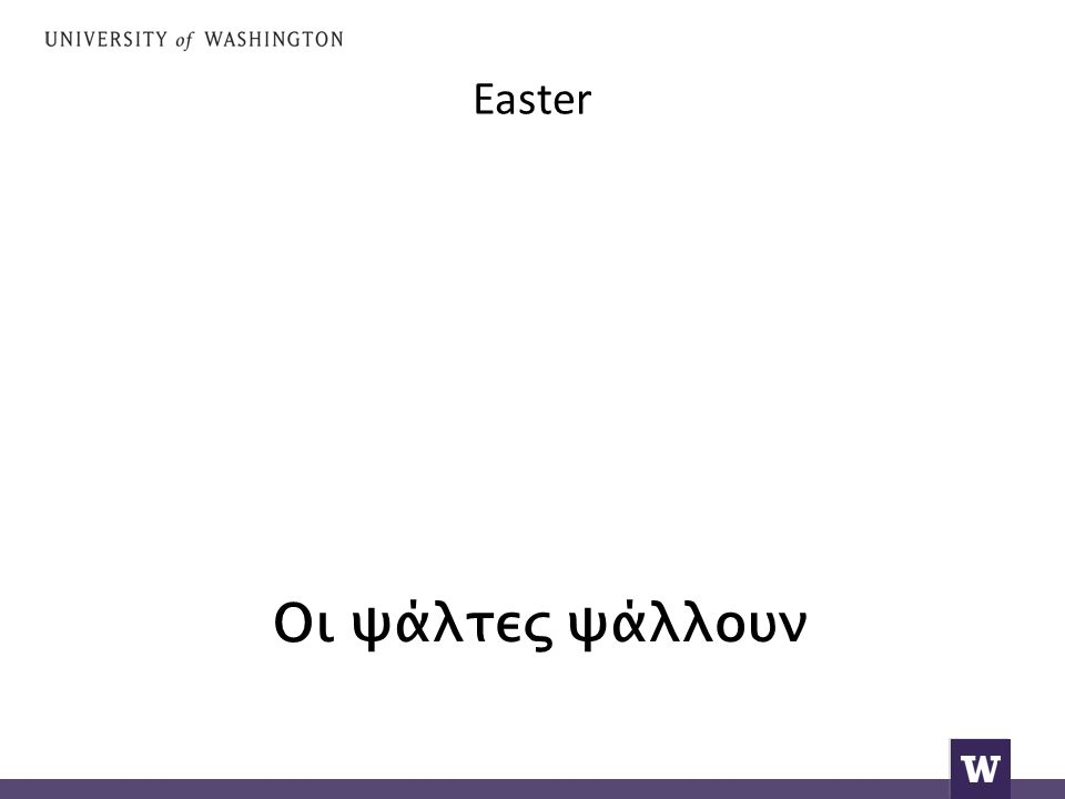 Easter and reply Alithos Anesti (Indeed He is Risen).