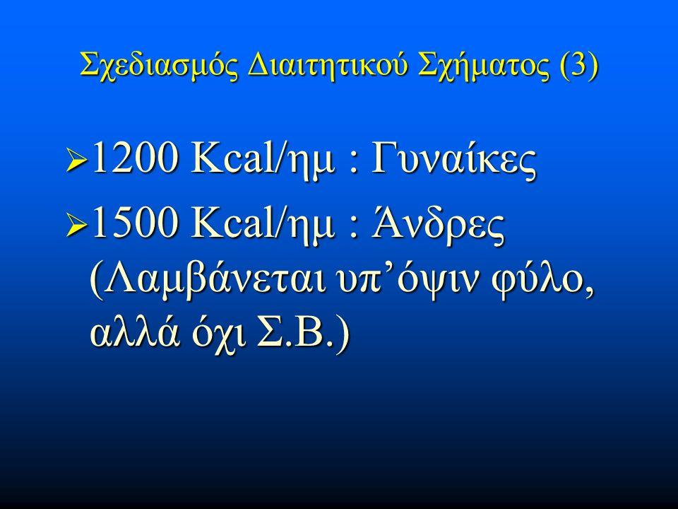 Σχεδιασμός Διαιτητικού Σχήματος (3)  1200 Κcal/ημ : Γυναίκες  1500 Κcal/ημ : Άνδρες (Λαμβάνεται υπ'όψιν φύλο, αλλά όχι Σ.Β.)