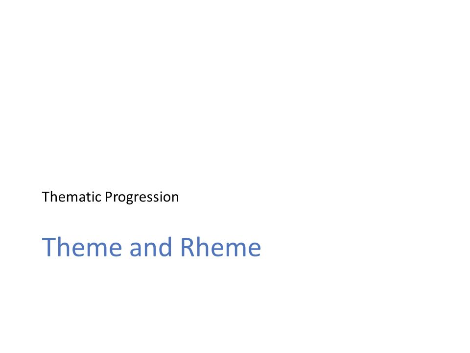 Thematic Progression Theme and Rheme