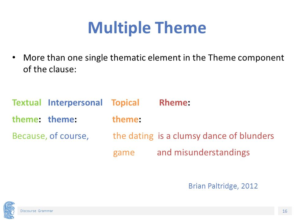 16 Discourse Grammar Multiple Theme More than one single thematic element in the Theme component of the clause: Textual Interpersonal Topical Rheme: theme: theme: theme: Because, of course, the dating is a clumsy dance of blunders game and misunderstandings Brian Paltridge, 2012