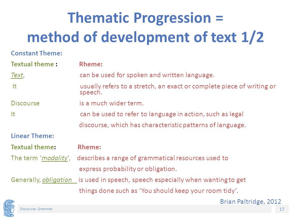 17 Discourse Grammar Thematic Progression = method of development of text 1/2 Constant Theme: Textual theme : Rheme: Text, can be used for spoken and written language.