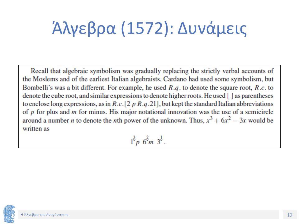 10 Η Άλγεβρα της Αναγέννησης Άλγεβρα (1572): Δυνάμεις