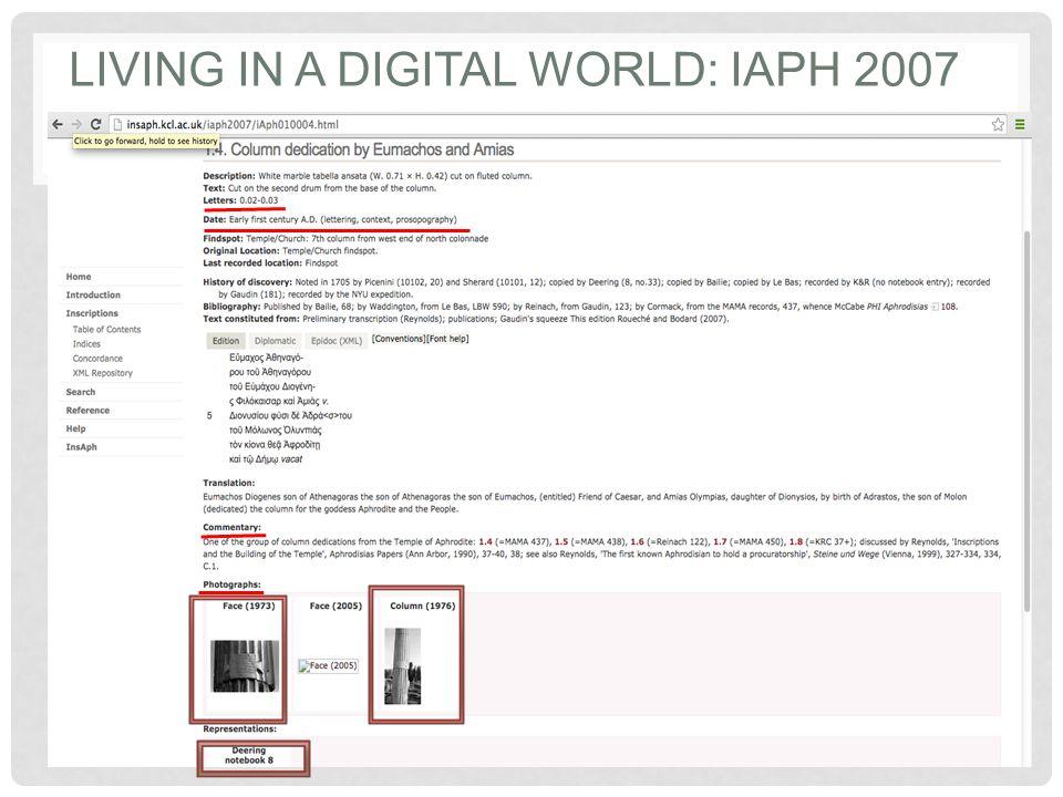 LIVING IN A DIGITAL WORLD: IAPH 2007