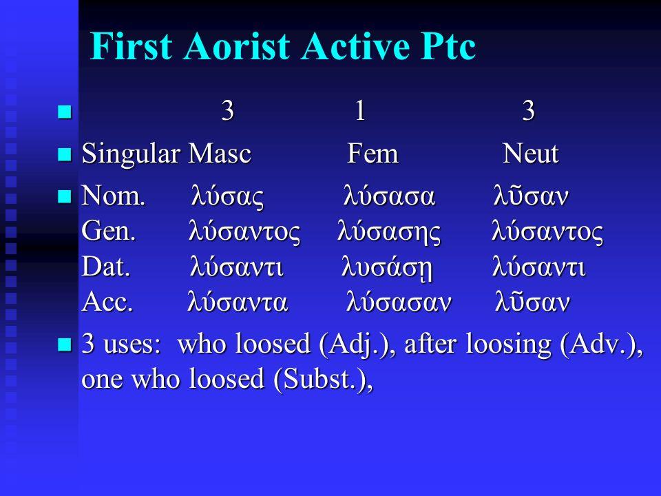 First Aorist Active Ptc 3 1 3 3 1 3 Singular Masc Fem Neut Singular Masc Fem Neut Nom.