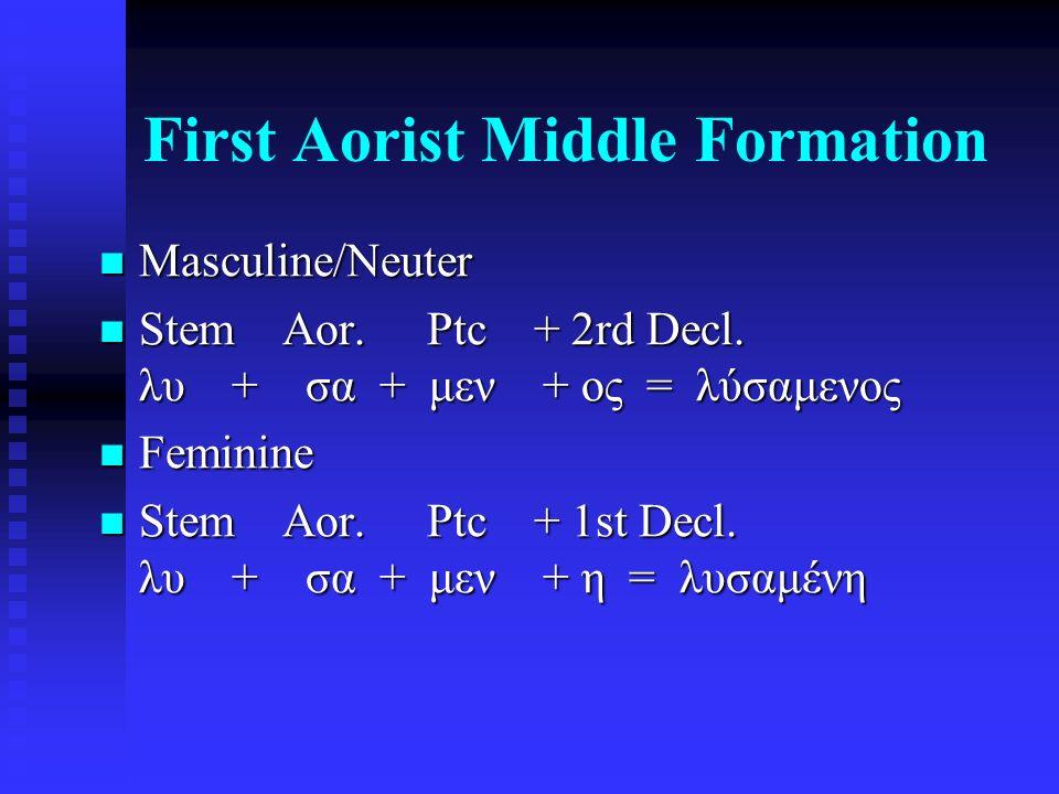 First Aorist Middle Formation Masculine/Neuter Masculine/Neuter Stem Aor. Ptc + 2rd Decl. λυ + σα + μεν + ος = λύσαμενος Stem Aor. Ptc + 2rd Decl. λυ