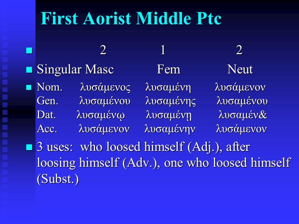 First Aorist Middle Ptc 2 1 2 2 1 2 Singular Masc Fem Neut Singular Masc Fem Neut Nom. λυσάμενος λυσαμένη λυσάμενον Gen. λυσαμένου λυσαμένης λυσαμένου